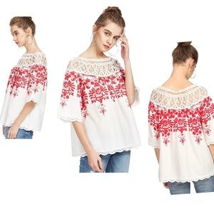 Cold Shoulder Embroidered Lace Scalloped Hem Top